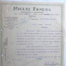 Cartas comerciales: CARTA COMERCIAL / SANEAMIENTO Y FONTANERIA / MIGUEL FANDOS / ZARAGOZA 1942. Lote 244466395