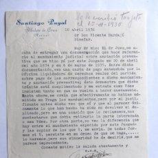 Cartas comerciales: CARTA COMERCIAL / SANTIAGO PUYAL / ALBALATE DE CINCA 1936 / HUESCA. Lote 244466220