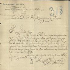 Cartas comerciais: CARTA COMERCIAL DE RESTAURANT SYLVAIN. M Y M PUIG DE VALL. MÉXICO (MÉXICO). 1922. Lote 38641587