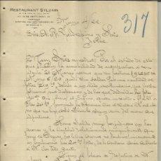 Cartas comerciais: CARTA COMERCIAL DE RESTAURANT SYLVAIN. M Y M PUIG DE VALL. MÉXICO (MÉXICO). 1922 . Lote 38641596