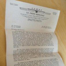 Cartas comerciales: MASONERIA. CARTA DE LA ORDEN DE ROSA CRUZ. TRES FOLIOS, AÑOS 30.. Lote 38789227