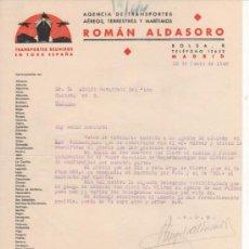 Lettere commerciali: CARTA COMERCIAL AGENCIA TRANSPORTE AÉREO, TERRESTRE Y MARÍTIMO ROMÁN ALDASORO. MADRID 1940. Lote 38854471