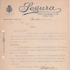 Lettere commerciali: CARTA COMERCIAL SEGURA PROVEEDORES DE LA REAL CASA. BARCELONA 1926. CARTA REFERENTE A ABANICOS. Lote 38856680