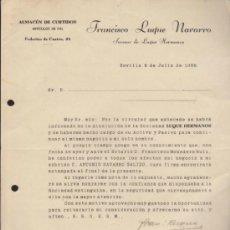 Cartas comerciales: CARTA CON MEMBRETE COMERCIAL. SEVILLA 8 DE JULIO DE 1938.. Lote 38946002