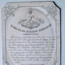 Cartas comerciales: LITOGRAFIA PEQUEÑA EN CARTON, D.NICOLAS BARBER AIMERICH, PRESBITERO. BURRIANA 29 DICIEMBRE 1890!!!! . Lote 39413274