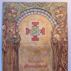 Cartas comerciales: CARTA MENU 1983 COMEDOR MONUMENTAL RESTAURANTE SAN FRANCISCO SANTIAGO DE COMPOSTELA CAMINO SANTIAGO. Lote 39424926