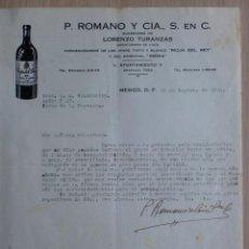 Lettere commerciali: CARTA COMERCIAL. P. ROMANO Y CIA. VINOS RIOJA DEL REY. MEXICO, D.F. SEPTIEMBRE 1930.. Lote 39569232