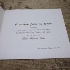 Cartas comerciales: 316.- GRAN TEATRO DEL LICEO-CARTA ABIERTA A LOS SEÑORES ACCIONISTAS DE LA SOCIEDAD DEL GRAN TEATRO. Lote 39500656