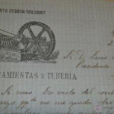 Cartas comerciales: ANTIGUA CARTA COMERCIAL GIBBON SPILSBURY MADRID HERRAMIENTAS MAQUINARIA MINAS SOCIEDAD LA DISPUTADA. Lote 39631909