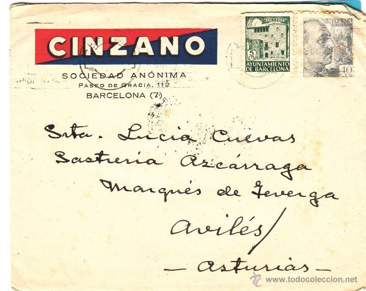 SOBRE MATASELLO DE OVIEDO 1944, DE LA FIRMA CINZANO (Coleccionismo - Documentos - Cartas Comerciales)