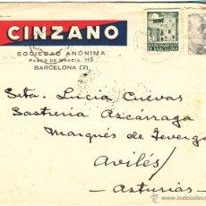 Cartas comerciales: SOBRE MATASELLO DE OVIEDO 1944, DE LA FIRMA CINZANO. Lote 40297257