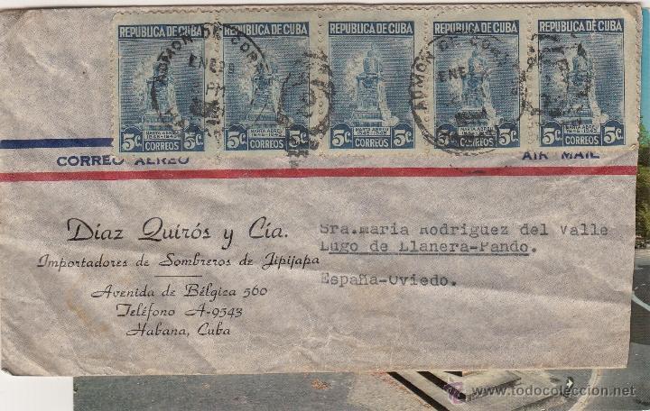 SOBRE COMERCIAL MATASELLO DE LA HABANA, CUBA, DIRIGIDO A OVIEDO. CIA. DE SOMBREROS (Coleccionismo - Documentos - Cartas Comerciales)