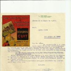 Cartas comerciales: CARTA COMERCIAL DE VIVEROS CUIT, LLEIDA 1957. Lote 40445586