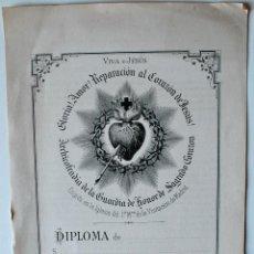 Cartas comerciales: DIPLOMA ARCHICOFRADIA GUARDIA DE HONOR DEL SAGRADO CORAZON DE JESUS, FINAL SIGLO XIX! . Lote 40551746