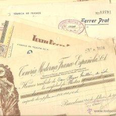 Cartas comerciales: BARCELONA - LOTE DE 33 RECIBOS DE EMPRESAS DE BARCELONA DIFERENTES AÑOS 40 - 50 (VER FOTOGRAFÍAS). Lote 40683520