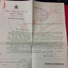 Cartas comerciales: ANTIGUA CARTA COMERCIAL PEDRO DOMECQ - COÑAC FUNDADOR. AÑO 1953. MUY INTERESANTE Y RARA. JEREZ. Lote 40803805