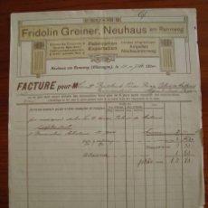 Cartas comerciales: CARTA COMERCIAL. FRIDOLIN GREINER, NEUHAUS AM RENNWEG. CIRCULADA EN 1914.. Lote 40849110