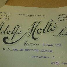 Cartas comerciales: ANTIGUA CARTA COMERCIAL ALMACEN DE PAPEL ADOLFO MOLTO VALENCIA 1952. Lote 40963527