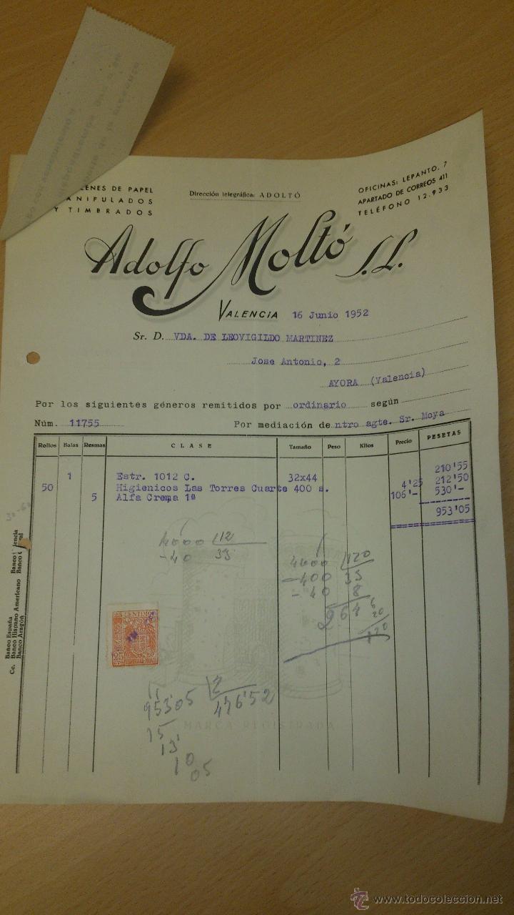 Cartas comerciales: ANTIGUA CARTA COMERCIAL ALMACEN DE PAPEL ADOLFO MOLTO VALENCIA 1952 - Foto 2 - 40963527
