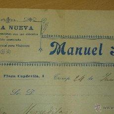 Cartas comerciales: ANTIGUA CARTA COMERCIAL FONDA NUEVA MANUEL SOLE TREMP 1912. Lote 40963630
