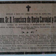 Cartas comerciales: ESQUELA DE PRENSA ORIGINAL MUERTE DE DON FRANCISCO DE BORJA CARVAJAL Y XIFRÉ, CONDE DE FONTANAR,1960. Lote 40996603