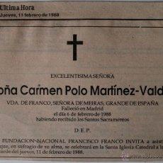 Cartas comerciales: ESQUELA ORIGINAL DE PRENSA DOÑA CARMEN POLO MARTÍNEZ-VALDÉS, VIUDA FRANCO, 1988!!! . Lote 41062083