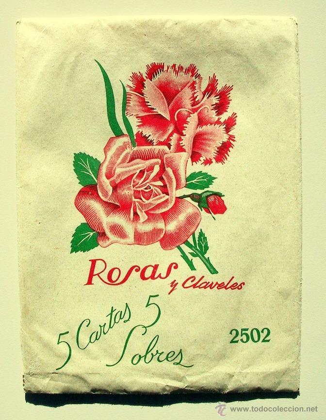 ANTIGUO PAPEL CARTA Y SOBRES - ROSAS Y CLAVELES - 2502 (Coleccionismo - Documentos - Cartas Comerciales)