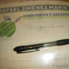 Cartas comerciales: RAFAEL JIMENEZ MARIN, PRODUCTOS DEL CERDO, EMBUTIDOS Y SALAZONES. ARRIATE MALAGA 1940.. Lote 22127173