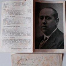 Cartas comerciales: DÍPTICO LA DOCTRINA DE ACCION POPULAR JOSE MARIA GIL ROBLES, AUTOGRAFO CONSEGUIDO EN PORTUGAL 1947. Lote 41524160