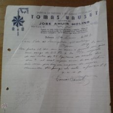 Cartas comerciales: ANTIGUA CARTA COMERCIAL TAPONES DE CORCHO BAUSET AHUIR MOLINS VALENCIA. Lote 41616136