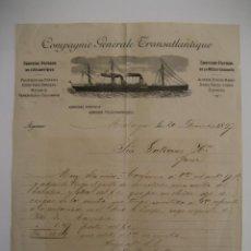 Cartas comerciales: COMPAGNIE GÉNÉRALE TRANSATLANTIQUE , MÁLAGA AÑO 1897. Lote 41704956