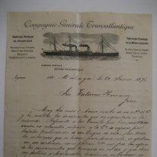 Cartas comerciales: COMPAGNIE GÉNÉRALE TRANSATLANTIQUE , MÁLAGA AÑO 1898. Lote 41705108