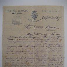 Cartas comerciales: HOTEL SIMÓN. MÁLAGA AÑO 1915.. Lote 41705647