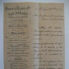 Cartas comerciales: FEDERICO VILCHES Y CIA. SAN ANDRÉS FÁBRICA DE CAJAS Y ESTUCHES, MÁLAGA 1898.. Lote 41713846