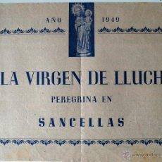 Cartas comerciales: LA VIRGEN DE LLUCH PEREGRINA EN SANCELLAS (SENCELLES, MALLORCA 1949) PROGRAMA ACTOS EN SU HONOR . Lote 41789325