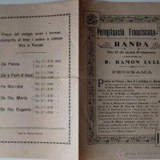 Cartas comerciales: PROGRAMA PEREGRINACIÓ FRANCISCANA A RANDA, 17 MAIG 1925 (RAMON LLULL) . Lote 41793785