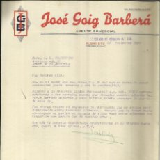 Cartas comerciales: CARTA COMERCIAL DE JOSÉ GOIG BARBERÁ. AGENTE COMERCIAL. ALBACETE. 1950. Lote 42259980