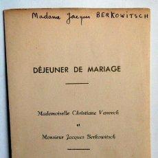 Cartas comerciales: CARTA MENU 1946 HOTEL HELVETIA MONACO. Lote 42372481