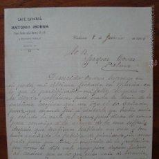 Cartas comerciales: CARTA COMERCIAL. CAFÉ ESPAÑOL. ANTONIO IBORRA. VALENCIA. CIRCULADA EN 1905.. Lote 54925960