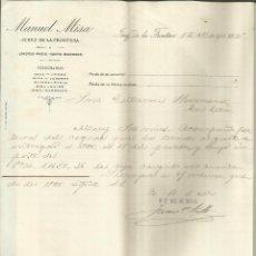Cartas comerciales: CARTA COMERCIAL DE MANUEL MISA. JEREZ DE LA FRONTERA. CÁDIZ. 1895. Lote 42454382