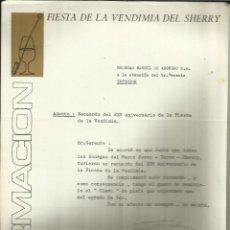 Cartas comerciales: CARTA COMERCIAL DEL PALACIO DEL VINO. FIESTA DE LA VENDIMIA DEL SHERRY. A. DURÁN TEJERA. JEREZ.CÁDIZ. Lote 42454907