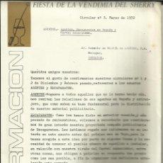Cartas comerciales: CARTA CIRCULAR DEL PALACIO DEL VINO. FIESTA DE LA VENDIMIA. A. DURÁN TEJERA. JEREZ.CÁDIZ. 1972. Lote 42454992