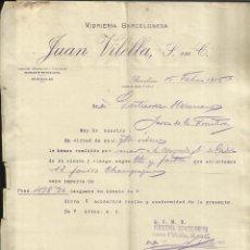 Cartas comerciales: CARTA COMERCIAL DE JUAN VILELLA. VIDRIERA BARCELONESA. BARCELONA. 1915. Lote 42471260