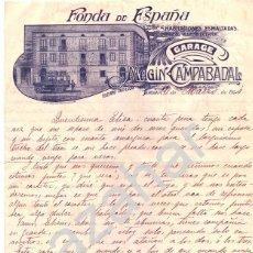 Cartas comerciales: TARREGA, LLEIDA, 1914, PAPEL CARTA . FONDA DE ESPAÑA.. Lote 42638428