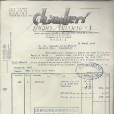 Lettere commerciali: CARTA COMERCIAL CHAMBERÍ MAGRO Y MALUQUER,MEDIAS,MADRID 1 ABR 1943,EUGENIO DE LA FUENTE, VALLADOLID. Lote 42702046