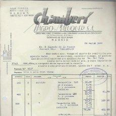 Lettere commerciali: CARTA COMERCIAL CHAMBERÍ MAGRO Y MALUQUER,MEDIAS,MADRID 24 MAR 1943,EUGENIO DE LA FUENTE, VALLADOLID. Lote 42702051