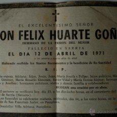 Cartas comerciales: ESQUELA DE PRENSA ORIGINAL DE 1971. DON FELIX HUARTE GOÑI, HERMANO DE LA PASION DEL SEÑOR . Lote 42736591