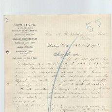 Cartas comerciais: CARTA COMERCIAL JOVITA LABARTA, FARMACÉUTICO, SANTIAGO 2 OCT 1900, VALDESPINO JEREZ. Lote 42942017