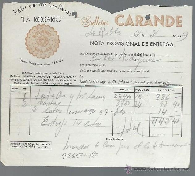 CARTA COMERCIAL FÁBRICA DE GALLETAS LA ROSARIO, CARANDE, LA ROBLA, LEÓN, 2 FEBRERO 1963 (Coleccionismo - Documentos - Cartas Comerciales)