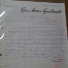 Cartas comerciales: ANTIGUA CARTA COMERCIAL CIA AMA GALINDO SERRERIA FRUTAS ALCANTARILLA MURCIA 1950. Lote 42990251